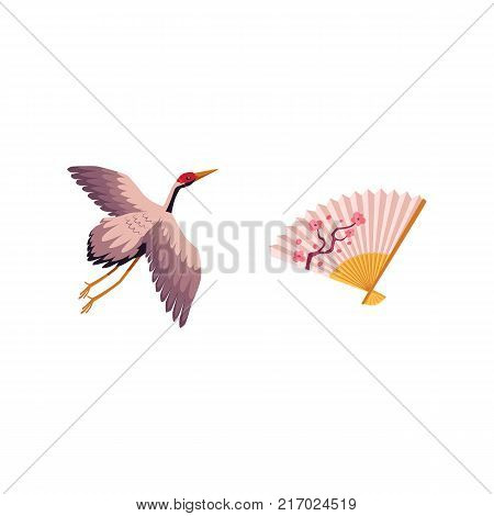 vector flat Japan traditional flying bird - crane flapping wings and folding fan with japanese sakura branch with flowers print icon image japanese symbols. Isolated illustration on a white background