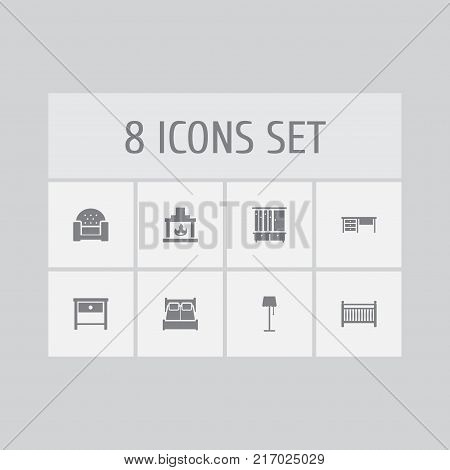Collection Of Chimney, Worktop, Cot And Other Elements.  Set Of 8 Situation Icons Set.