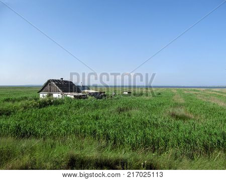 The hermit's hut in reeds on the beach. A blue-green natural summer background and a lonely little house in the distance
