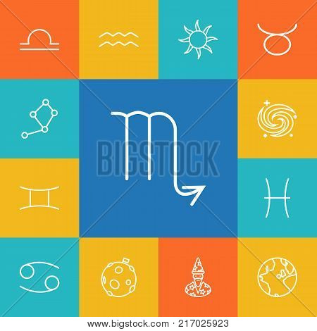 Collection Of Pisces, Libra, Cancer And Other Elements.  Set Of 13 Horoscope Outline Icons Set.