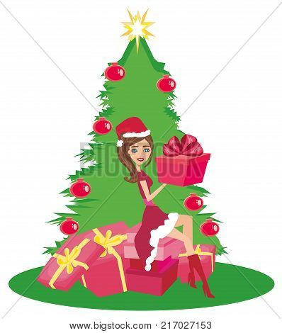 beautiful girl in Christmas inspired costume , vector illustration