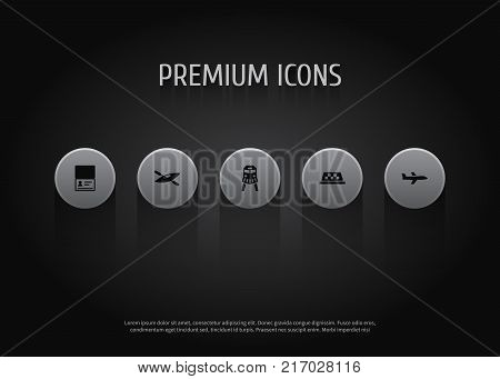 Collection Of Canoe, Citizenship, Aircraft And Other Elements.  Set Of 5 Relax Icons Set.