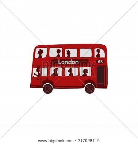 Red double-decker bus with passengers, London, England symbol, tourist attraction and public transport, cartoon vector illustration isolated on white background. Red London, English double-decker bus