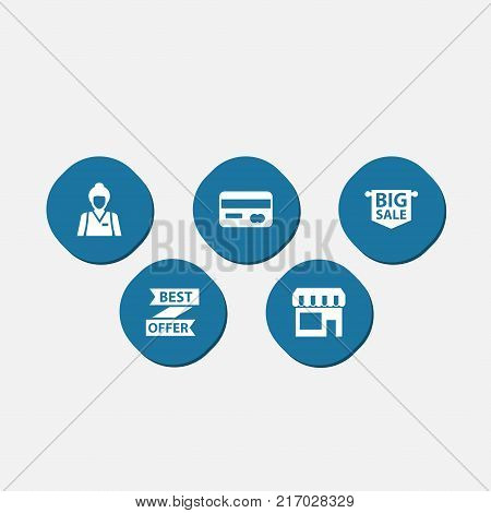 Collection Of Seller, Best Offer, Payment And Other Elements.  Set Of 5 Store Icons Set.