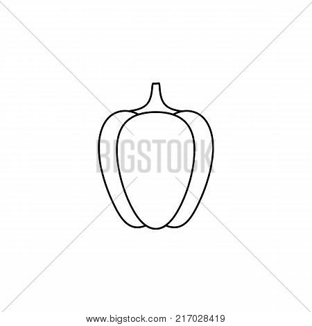 vector flat sketch style black and white contour pepper. Isolated illustration on a white background. Healthy vegetarian eating, dieting and lifestyle design object.