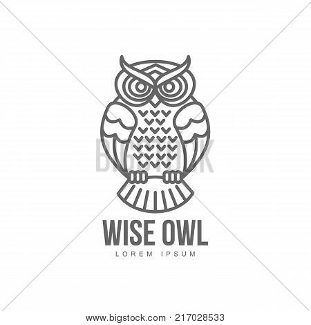 wise hand drawn sitting wise owl brand logo stylized design silhouette pictogram. Line icon bird isolated illustration on a white background.