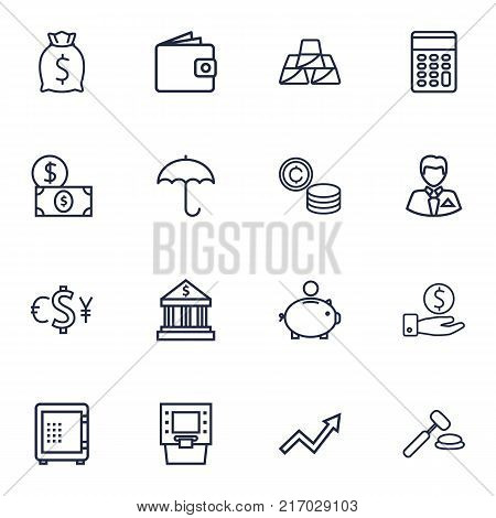 Collection Of Safe, Atm, Money Box And Other Elements.  Set Of 16 Budget Outline Icons Set.