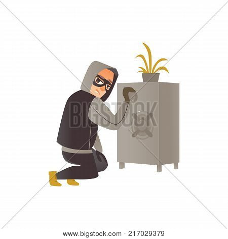 Thief in mask, burglar trying to break a safe, committing a crime, flat comic vector illustration isolated on white background. Thief, burglar in mask and black suit breaking a safe poster