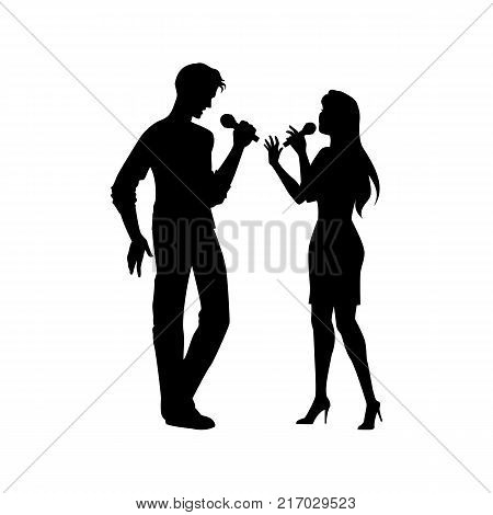 Full length portrait, figures of man and woman singing with microphones, black vector silhouette isolated on white background. Black silhouettes of man and woman singing together