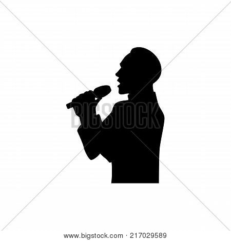 Half length portrait, figure of handsome man singing with microphone, black vector silhouette isolated on white background. Black silhouette of singing man, half length portrait