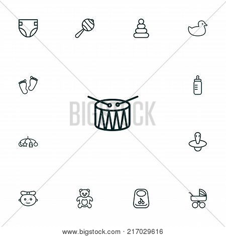 Collection Of Bottle, Carriage, Teddy And Other Elements.  Set Of 13 Kid Outline Icons Set.