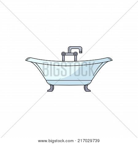 Side view clawfoot bathtub, bath tub with chrome faucet, hand drawn cartoon vector illustration isolated on white background. Side view drawing of bathtub with water facet and douche