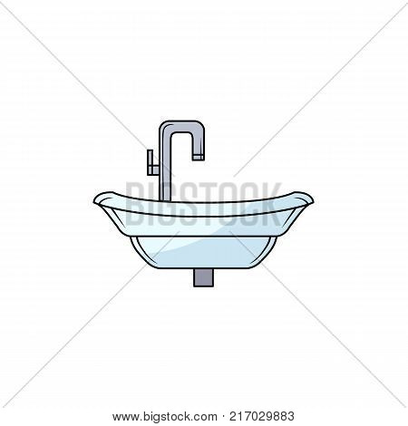Front view picture of bathroom sink, washbasin with tall chrome, steel water faucet, hand drawn cartoon vector illustration isolated on white background. Front view cartoon sink with water facet