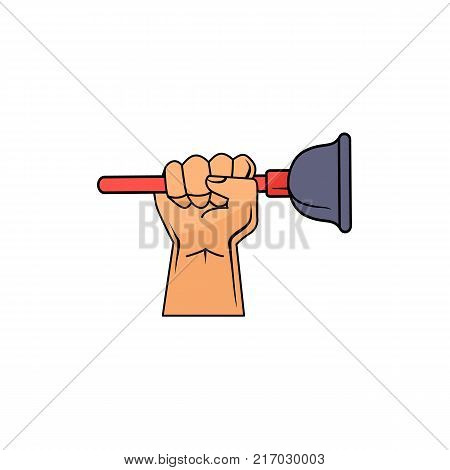 Male hand holding household sink plunger, force cup, plumber service icon, hand drawn cartoon vector illustration isolated on white background. Male hand holding force cup, plunger, plumber tool