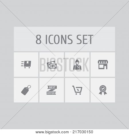 Collection Of Label, Cart, Dollar And Other Elements.  Set Of 8 Magazine Icons Set.