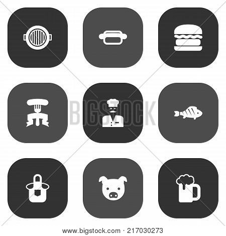 Collection Of Barbecue, Grill Top View, Kitchen Uniform And Other Elements.  Set Of 9 Barbecue Icons Set.