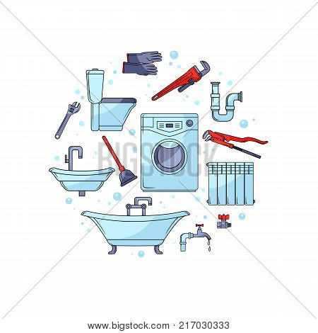 Plumbing tools, bathtub, toilet bowl, sink, washer, gloves and plunger forming circle, banner template, cartoon vector illustration isolated on white background. Plumbing tools and sanitary equipment