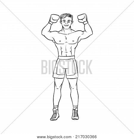 vector cartoon muscular strong handsome boxer man bare torso and chest standing with hands in boxing gloves raised up smiling like winner. Isolated illustration on a white background.