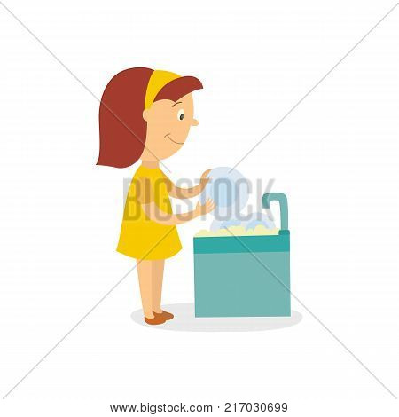 vector flat cartoon girl kid washing dishes standing in apron smiling near sink. Isolated illustration on a white background. Daily routine concept