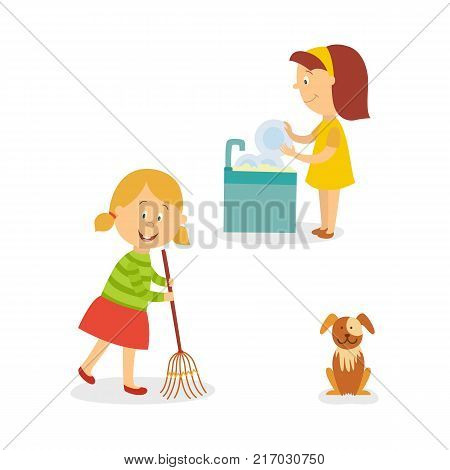 vecotr flat kids doing household chores set. Girl washing dishes standing at sink, another girl cleaning, sweeping the floor by broom, dog puppy pet sitting near. Isolated illustration.