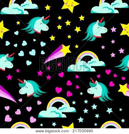 Abstract Seamless Girlish Unicorn Pattern For Girls.creative Vector Background With Unicorn, Hearts,
