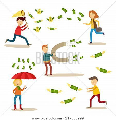 vector flat people catching money scenes set. Men and women catching money by butterfly net, running for dollars, attracting it my magnet standing under money rain with umbrella. Isolated illustration