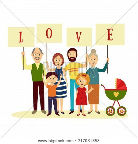 Family - parents, grandparents and children holding boards with letters of word LOVE, flat cartoon vector illustration on white background. Happy family members holding letters of word Love poster