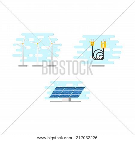 Windmills, wind turbines, solar panel, electric power cable set, flat vector illustration isolated on white background. Alternative energy, electricity sources - wind mills, solar panel, power cable