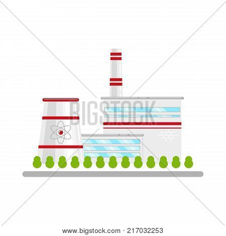 Nuclear power plant, alterative energy source, concept of atom for peace, flat icon style vector illustration isolated on white background. Flat icon with nuclear power plant, atomic energy concept