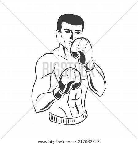 vector cartoon muscular strong handsome man bare torso and chest in boxing stand with box gloves black and white icon. Isolated illustration on a white background.