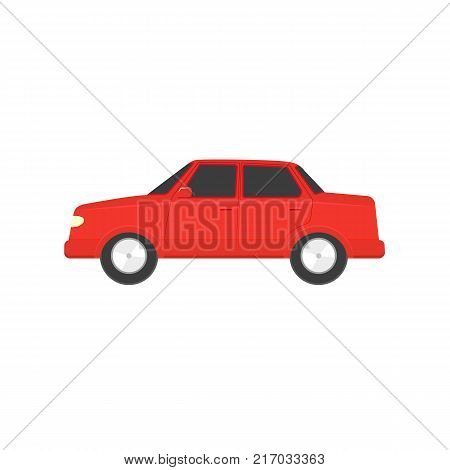 Flat style red sedan car, automobile icon, side view vector illustration isolated on white background. Flat style car, automobile, motor vehicle decoration element