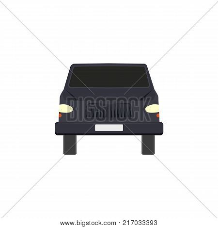 Flat style black sedan car, automobile icon, front view vector illustration isolated on white background. Flat style car, automobile, motor vehicle icon, decoration element