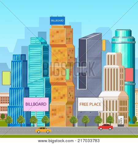 City, urban, downtown scene with skyscrapers, office buildings, billboards and road, flat vector illustration. Downtown city, high rise modern buildings and billboards, outdoor advertising concept
