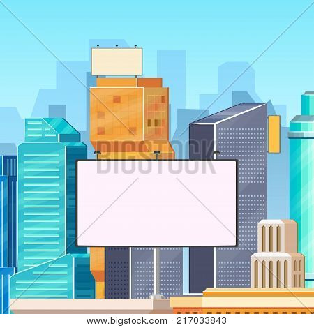 City, urban, downtown scene - high buildings and blank empty billboards with space for text, flat vector illustration. Downtown city, modern buildings, skyline and billboards, advertising template