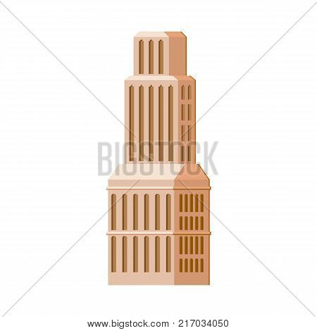 Modern, contemporary layered skyscraper, high rise building, flat vector illustration isolated on white background. Flat skyscraper, business center, high rise building, modern urban cityscape design