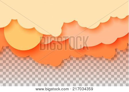 3d abstract paper cut illustration of pastel orange sky, sun and clouds. Vector colorful template for banner, flyer, poster or iinvitation in paper art style. Eps10.