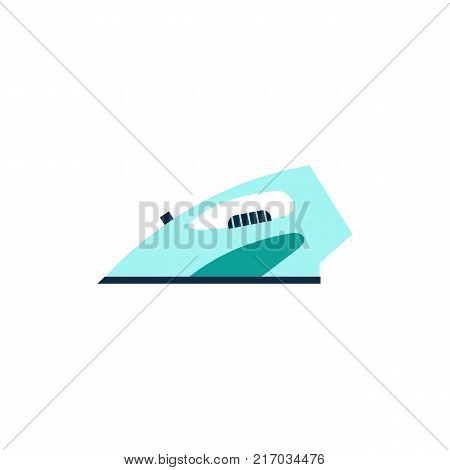 Side view picture of electrical iron, home appliance, flat style vector illustration isolated on white background. Flat style icon, concept of side view stylized smoothing iron