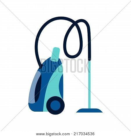Side view picture of electrical vacuum cleaner, dust extractor, home appliance, flat style vector illustration isolated on white background. Flat style icon, concept of side view vacuum cleaner