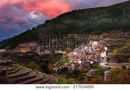 Arganil portugal - December 1 2017: Sunset Historic village of Piodao Serra do Acor Arganil Portugal