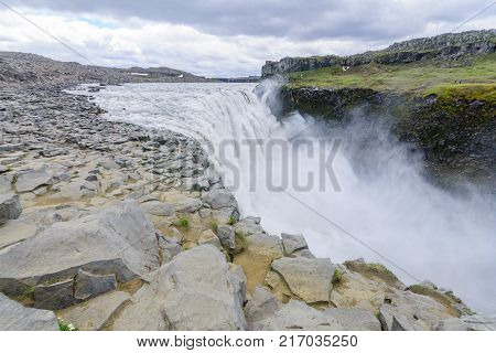 View of the Dettifoss waterfall in Vatnajokull National Park Northeast Iceland