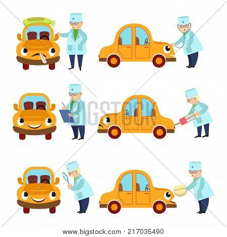 Funny old doctor helping, curing comic car character, cartoon vector illustration isolated on white background. Cartoon doctor checking and curing funny car character with pill, thermometer, shots