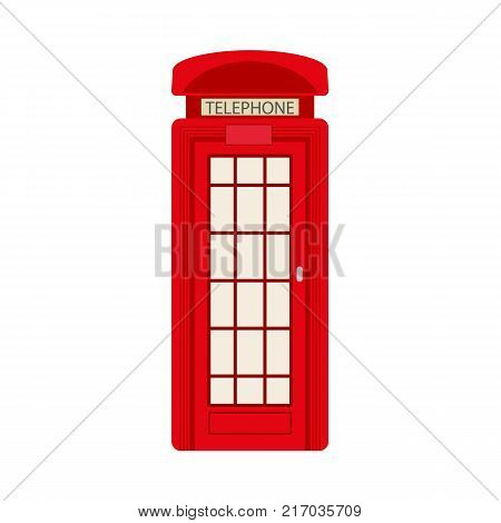 vector flat british red phone booth icon. isolated illustration on a white background. England national traditional cultural symbol for logo, brand menu deisgn