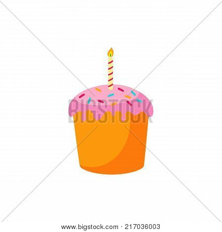 Easter cake with burning candle and pink color glaze, cartoon vector illustration isolated on white background. Easter cake with candle, decoration element