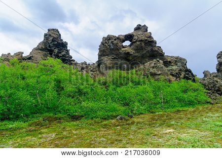 The Dimmuborgir area with various volcanic caves and rock formations. Near Lake Myvatn Northeast Iceland