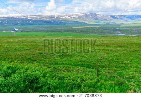 Landscape and the Godafoss waterfall in the Bardardalur district of North-Central Iceland