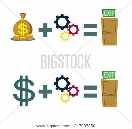 Way to exit concept. Set. Money and ideas helps to find a way out. Way to exit concept. Set. Stock flat vector illustration.