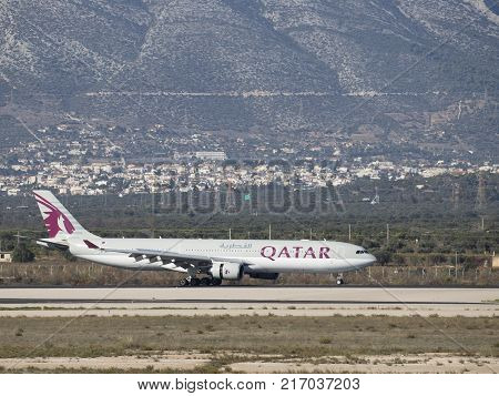 Athens - November 21 2017: Powerful passenger airplane Airbus A-330-302 Qatar Airways landed at the airport on November 21 2017 Athens Greece