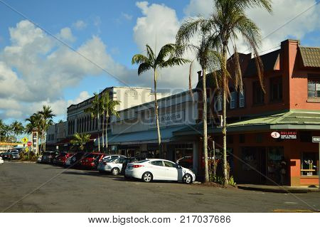 Shopping Center In Hilo With Different Stores, July 17, 2017. Hilo, Big Island, Hawaii, USA, EEUU.