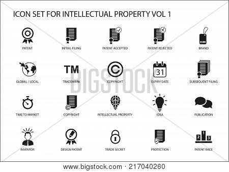 Intellectual property / IP vector icon set. Concept of patents, trademark and copyright