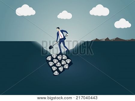 Vector illustration of business man digging for diamonds. Concept for search and find or business success